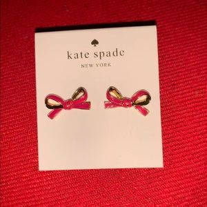 Kate Spade Pink and Gold Bow earrings NWT